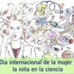 ilustracion mujer y simbolos ciencia