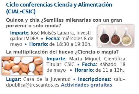 Cartel Conferencias Mayo 2019 Ayuntamiento Tres Cantos